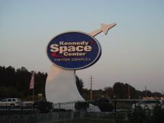 The big sign on the Kennedy Space Center entrance.